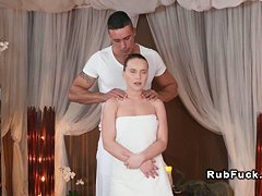 Pierced cunt babe gets massage for woman oil