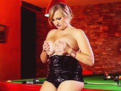 Sara Willis playing billiard and working with her boobs