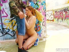 Nasty blonde girl Blue Angel gives head in public