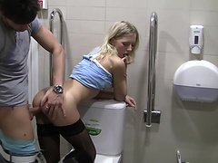 Lorena in hot blonde enjoys hard public toilet fuck